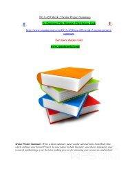 HCA 459 Week 2 Senior Project Summary/snaptutorial