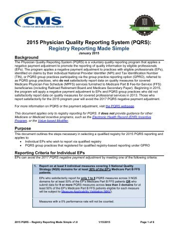 2015 Physician Quality Reporting System (PQRS) Registry Reporting Made Simple