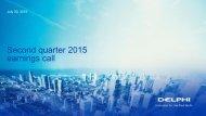 Second quarter 2015 earnings call