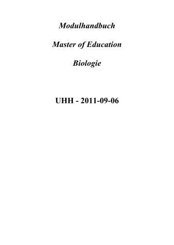 Modulhandbuch Master of Education Biologie UHH - 2011-09-06