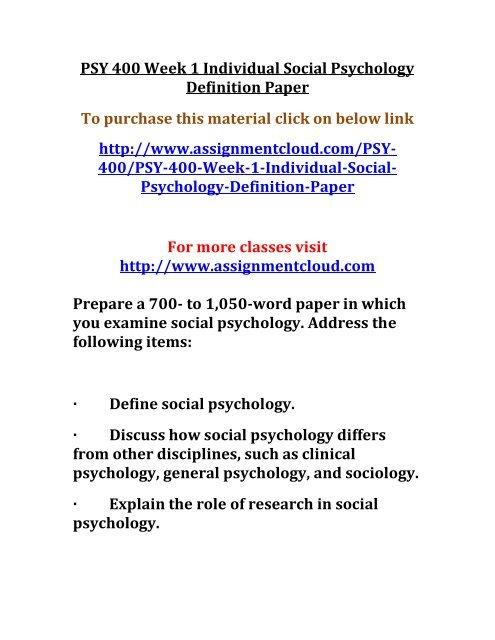 Social psychology definition paper essays