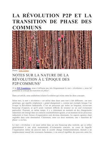 LA RÉVOLUTION P2P ET LA TRANSITION DE PHASE DES COMMUNS