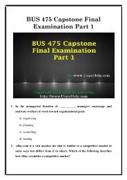 BUS 475 Capstone Final Exam Part 1 UOP Latest Course