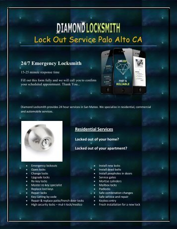 Lock Out Service Palo Alto CA