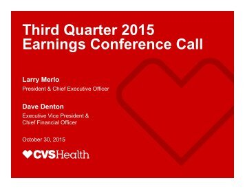 Third dQuate Quarter 2015 Earnings Conference Call