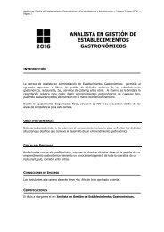 ANALISTA EN GESTIÓN DE ESTABLECIMIENTOS GASTRONÓMICOS