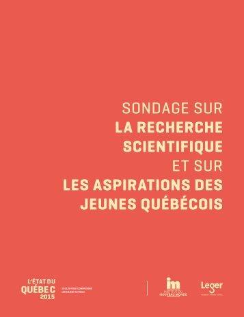 LA RECHERCHE SCIENTIFIQUE ET SUR les aspirations des jeunes Québécois