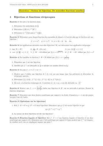 1 Bijection et fonctions réciproques