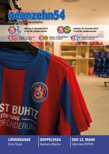 neunzehn54, Doppelausgabe MSV Duisburg U23 & Germania Ratingen. Heft 7, Saison 2015/16