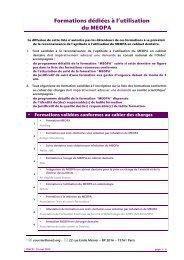 Formations dédiées à l'utilisation du MEOPA