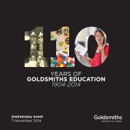 YEARS OF GOLDSMITHS EDUCATION 1904-2014
