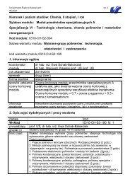 Kierunek i poziom studiów: - Uniwersytet Śląski