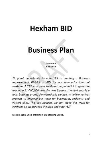 Hexham BID Business Plan
