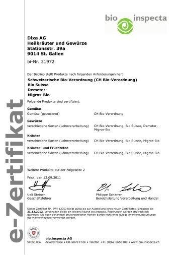 e-Zertifikat bio.inspecta AG - DIXA