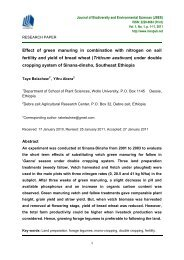 Effect of green manuring in combination with nitrogen on soil fertility and yield of bread wheat (Triticum aestivum) under double cropping system of Sinana-dinsho, Southeast Ethiopia