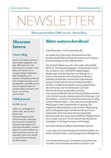 Steinmuseum Kernen Newsletter 5/2015