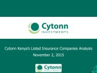 Cytonn Kenya's Listed Insurance Companies Analysis November 2 2015