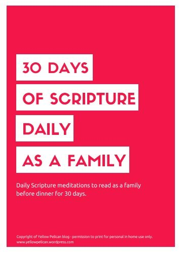 OF SCRIPTURE DAILY AS A FAMILY