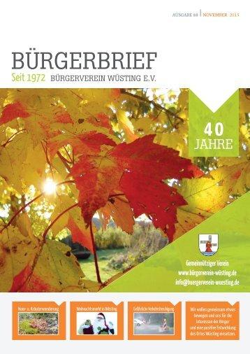 BÜRGERBRIEF-Vereinsheft Ausgabe 88 - November 2015 - Bürgerverein Wüsting e.V.