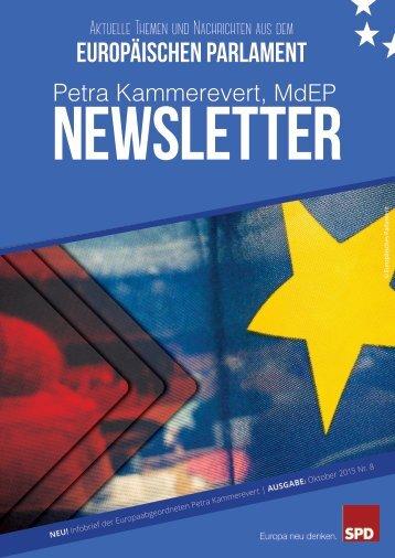 Infobrief der Europaabgeordneten Petra Kammerevert - Ausgabe: Oktober 2015 Nr. 8
