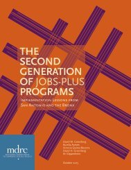 THE SECOND GENERATION OF JOBS-PLUS PROGRAMS