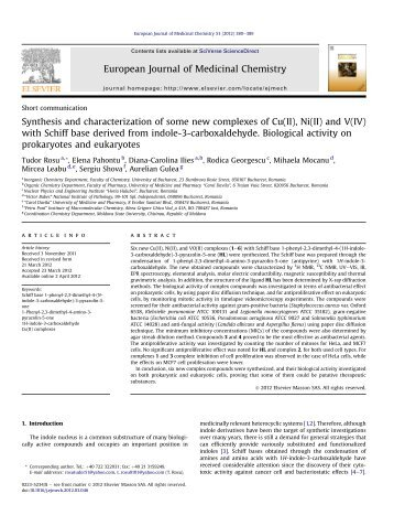 Synthesis and characterization of some new complexes of Cu(II), Ni ...