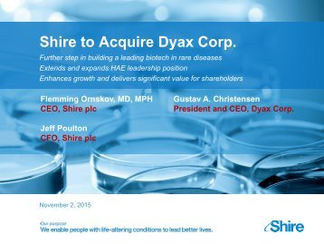Shire to Acquire Dyax Corp