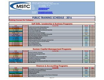 PUBLIC TRAINING SCHEDULE - 2016