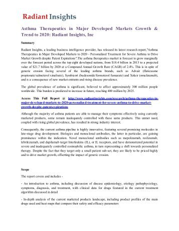 Asthma Therapeutics in Major Developed Markets Growth & Trend to 2020 Radiant Insights, Inc