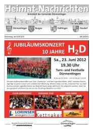 JUBILÄUMSKONZERT 10 JAHRE H2D Sa., 23. Juni 2012 19.30 Uhr ...