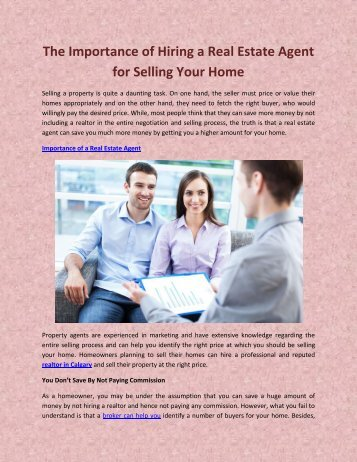 The Importance of Hiring a Real Estate Agent for Selling Your Home