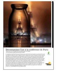 Décontaminer l'air à la conférence de Paris