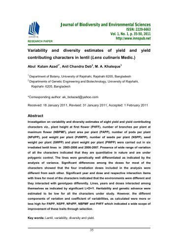 Variability and diversity estimates of yield and yield contributing characters in lentil (Lens culinaris Medic.)