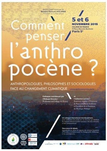 Conférence changements l'anthropocène