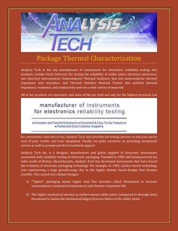 Package Thermal Characterization