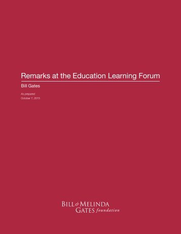 Remarks at the Education Learning Forum