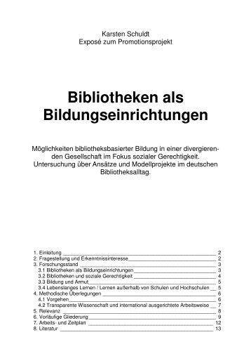 Bibliotheken als Bildungseinrichtungen - Karsten Schuldt