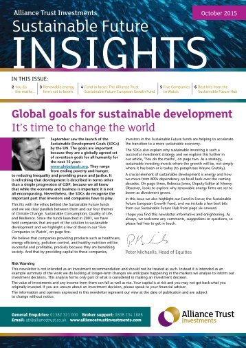 Global goals for sustainable development It's time to change the world