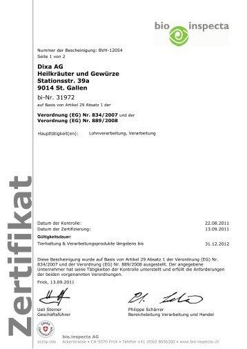 Zertifikat - DIXA