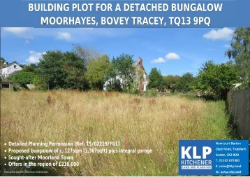 BUILDING PLOT FOR DETACHED BUNGALOW, BOVEY TRACEY, DEVON