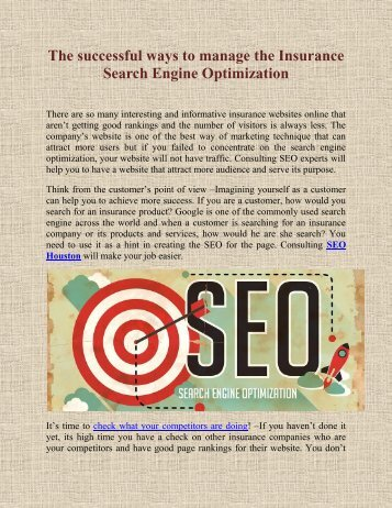 The successful ways to manage the Insurance Search Engine Optimization