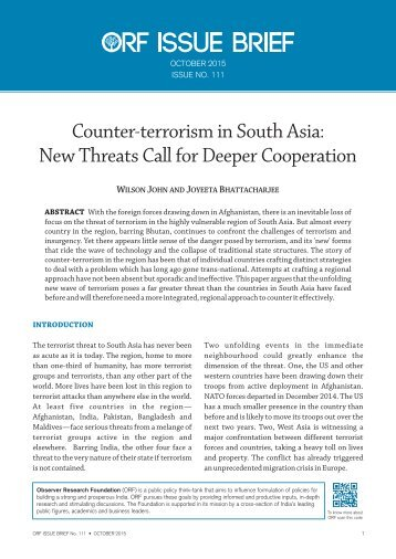 Counter-terrorism in South Asia New Threats Call for Deeper Cooperation