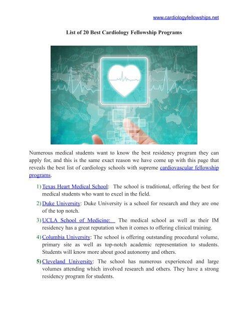Best Cardiology Fellowship Programs