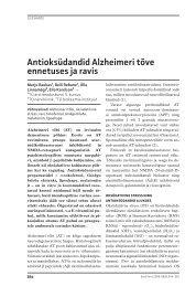 Antioksüdandid Alzheimeri tõve ennetuses ja ravis - Eesti Arst