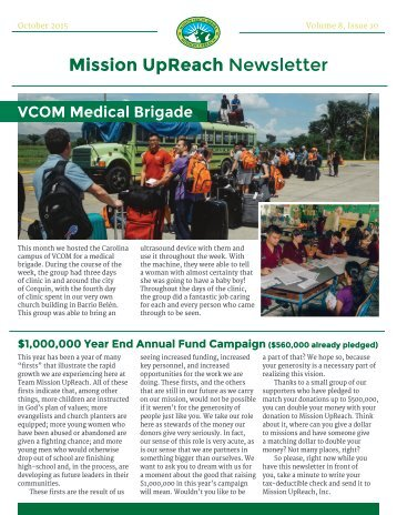 Mission UpReach Newsletter - October 2015