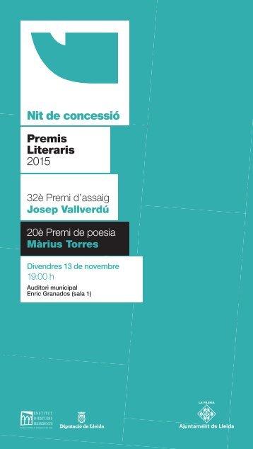 Nit de concessió Premis Literaris 2015