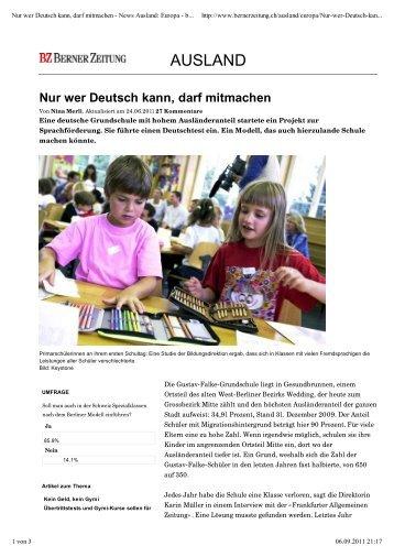 Nur wer Deutsch kann, darf mitmachen - Gustav-Falke-Grundschule
