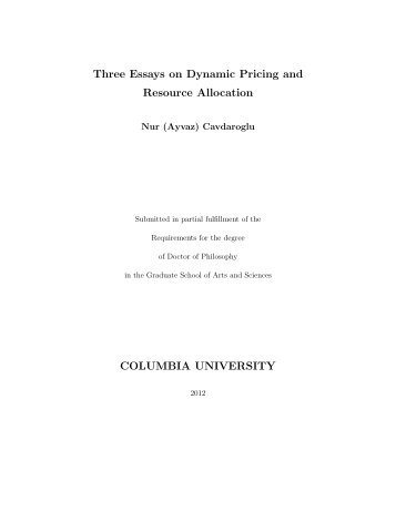 Three Essays on Dynamic Pricing and Resource Allocation ...