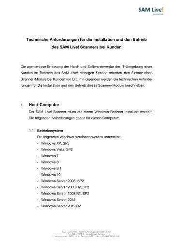SAM Live! technische Anforderungen