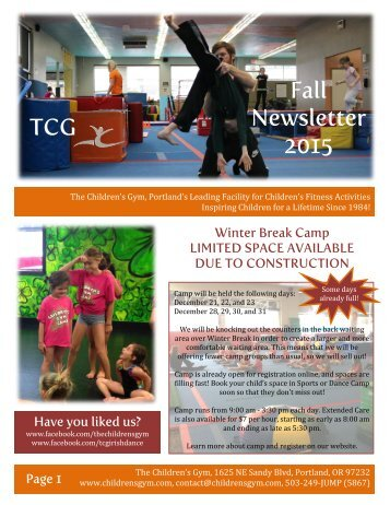 TCG Fall Newsletter 2015